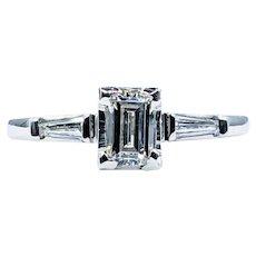 Mid Century Emerald Cut Diamond Engagement Ring