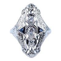 Remarkable Art Deco Diamond Navette Ring