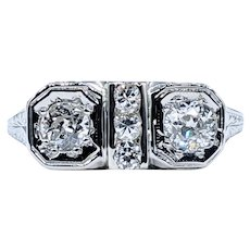 Antique Art Deco Diamond Twin Stone Ring