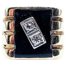 Vintage Onyx & Diamond Men's Ring