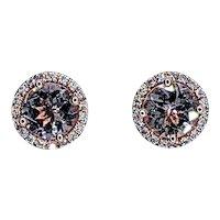 Pretty Morganite & Diamond Halo Stud Earrings