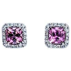 Cheerful Pink Tourmaline & Diamond Halo Stud Earrings