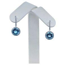 Stunning Blue Topaz & Diamond Halo Dangle Earrings