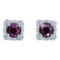 Elegant Ruby & Diamond Stud Earrings