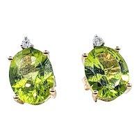 Bright Peridot & Diamond Stud Earrings