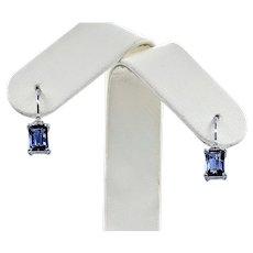 Lovely Iolite & Diamond Lever Back Earrings