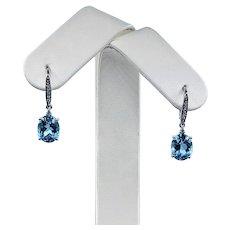 Bright Blue Topaz & Diamond Dangle Earrings