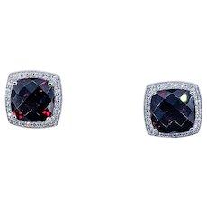 Rich Red Garnet & Diamond Halo Stud Earrings