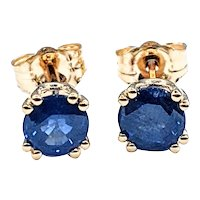 Classic Solitaire Sapphire Stud Earrings
