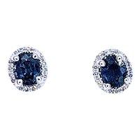 Classy Sapphire & Diamond Halo Stud Earrings