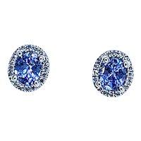 Delightful Tanzanite & Diamond Halo Stud Earrings