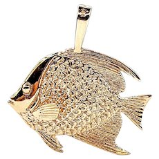 Solid 14K Gold Tropical Fish Pendant