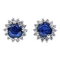 Lovely Sapphire & Diamond Halo Stud Earrings