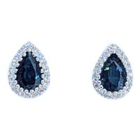 Terrific Teardrop Sapphire & Diamond Halo Stud Earrings