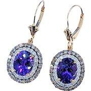 Royal Purple Amethyst & Diamond Dangle Earrings