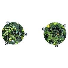 Vivid Peridot & 14K White Gold Stud Earrings