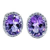 Beautiful Amethyst & Diamond Halo Earrings