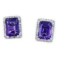 Striking Emerald Cut Amethyst & Diamond Halo Stud Earrings