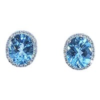 Serene Sky Blue Topaz & Diamond Halo Stud Earrings