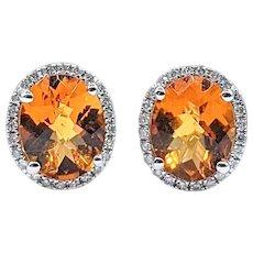 Cheerful Golden Citrine & Diamond Halo Stud Earrings
