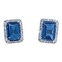 Beautiful London Blue Topaz & Diamond Stud Earrings