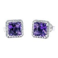 Shimmering Amethyst & Diamond Halo Stud Earrings