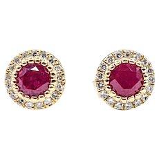 Rose Red Ruby & Diamond Halo Stud Earrings