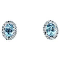 Beautiful Aquamarine & Diamond Halo Stud Earrings