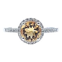 Cheerful Citrine & Diamond Halo Ring