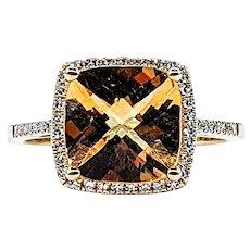 Radiant Citrine & Diamond Halo Ring
