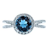 Elegant London Blue Topaz & Diamond Dress Ring