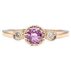 Charming Pink Sapphire & Diamond Dress Ring
