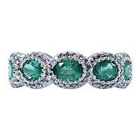 Elegant Emerald & Diamond Halo Band
