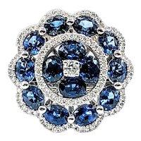 Glamorous Sapphire & Diamond Cocktail Ring