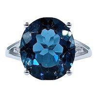 Deep Blue London Blue Topaz & Diamond Cocktail Ring