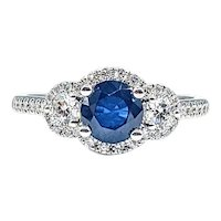 Shimmering Sapphire & Diamond Engagement Ring