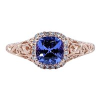 Sophisticated Tanzanite & Diamond Filigree Ring