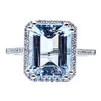 Stunning Emerald Cut Aquamarine & Diamond Cocktail Ring