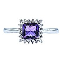 Princess Cut Amethyst & Diamond Halo Ring