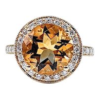 Brilliant Citrine & Diamond Cocktail Ring