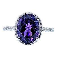 Intense Purple Amethyst & Diamond Cocktail Ring