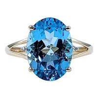 Vivid Sky Blue Topaz & Diamond Cocktail Ring