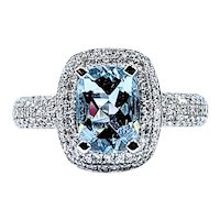 Stylish Aquamarine & Diamond Cocktail Ring