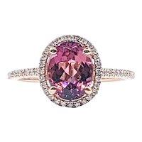 Precious Pink Tourmaline & Diamond Halo Cocktail Ring