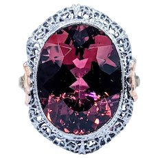 Breathtaking Tourmaline Cocktail Ring with Vintage Filigree Mounting
