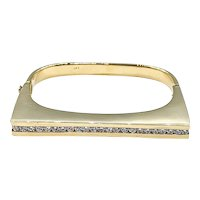Modern Diamond & 18K Gold Hinged Bangle Bracelet