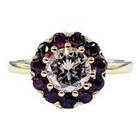 Brilliant Diamond & Ruby Halo Engagement Ring