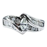 Marquise, Round & Baguette Cut Diamond Engagement Ring