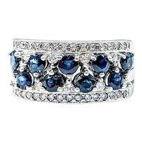 Stylish Diamond & Sapphire Dress Ring