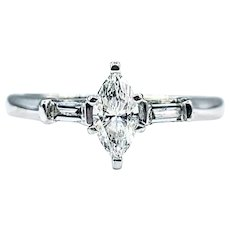 Romantic Marquise Diamond Engagement Ring